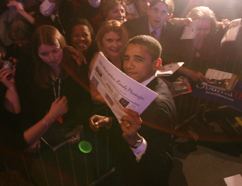 President Obama holds the Hampton Roads Messenger