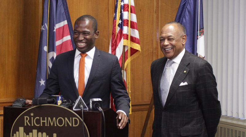 Mayor-elect Levar Stoney with Mayor Dwight Jones from during post election photo opportunity. Photo Credit: Wes Jones