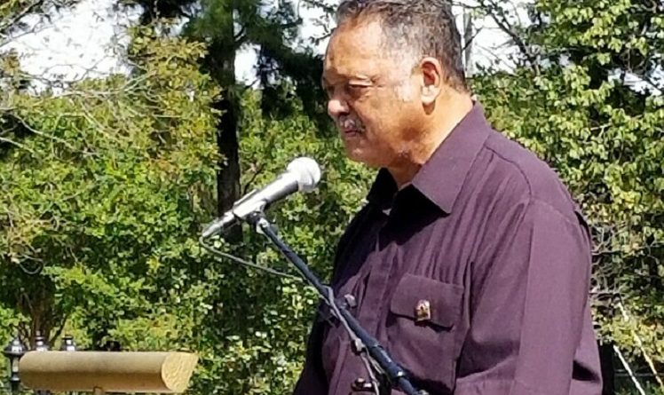 "Rev. Jesse Jackson speaks words of ""healing and rebuilding"" to a gathering at The Emancipation Oak at Hampton University, Sept. 20, 2017. Photo by Andrew Morrison"